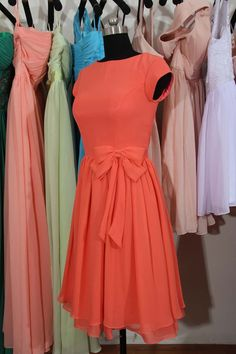 Cap Sleeves Bridesmaid Dress Knee Length by harsuccthing on Etsy