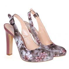 Pantofi decupati Pink flowers
