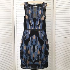 "HP X2 Reiss ""Zuma"" embellished cocktail dress Madly in love w/ this Reiss gem. Heavily re-embroidered brocade fabric in black, blue & metallic gold & silver. Fully lined. Sleeveless w/ large keyhole opening in back. Covered button closure. Sheer chiffon detail at décolletage. Narrow band of black satin at waist. Knee length, back kick pleat. Beautifully tailored/fitted. Reiss style & quality. NWT; tried on but never worn. [More pics in secondary listing.] [I also have the floor-length…"