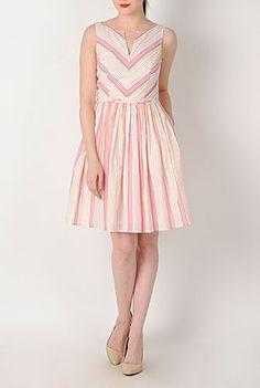 Candy stripe notch neck dress