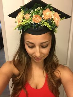 Flower crown for graduation cap.