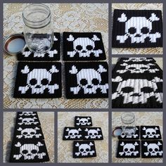 Plastic canvas Set of 4  Skull and crossbones by HomespunCrafting, $15.00