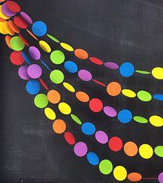 Guirnalda de 20ft de puntos de arco iris: arco iris cumpleaños partido, 1er cumpleaños niña, aula Decor, Telón de fondo de la foto, carnaval decoración, parte de arca de Noé