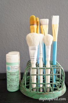 Repurposed Flower Frog Ideas - Paint Brush Holder