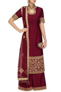 Neha Saran Maroon Dori Embroidered Kurta and Sharara Pants Set #happyshopping #shopnow #ppus