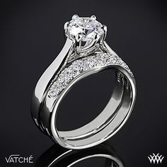 "Vatche ""Royal Crown"" Solitaire Engagement Ring and Diamond Wedding Ring"