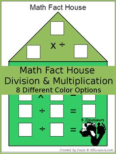 Free Math Fact Houses for Multiplication & Division | 3 Dinosaurs