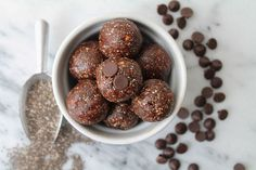 No Bake Chocolate Chia Power Balls  (swap almondbutter with peanutbutter and honey with maple sirup for Low-FODMAP recipe)