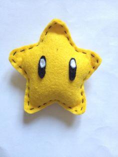 Mario Star felt hair clip. via Etsy.
