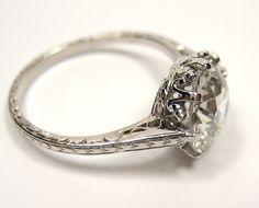 1900 Edwardian 3.04ct Old European Round VINTAGE ANTIQUE Solitaire Diamond Wedding ENGAGEMENT Ring in Platinum. $19,870.00, via Etsy.
