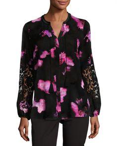 T Tahari Lydia Floral-Print Blouse, Black Pattern