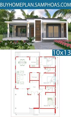 In-law Unit! Sketchup Home Design Plan with 3 Bedrooms - Samphoas. House Layout Plans, Dream House Plans, Modern House Plans, Small House Plans, House Layouts, House Floor Plans, Modern Bungalow House, Simple House Design, Container House Design