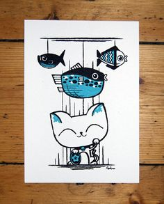 "love this ""Maneki Neko"" print from Peskimo. Neko Cat, Maneki Neko, Japanese Symbol, Japanese Cat, Dog Pin, Art For Art Sake, Silk Screen Printing, Print Artist, Crazy Cats"