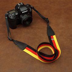 DSLR Leather Camera Strap - Nikon Camera Strap - Canon Camera Strap - National Flag Camera Strap