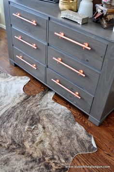 Copper Drawer Pulls - An Industrial Update - Way of the Glue Gun