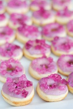 Rock candy donuts. Fun idea - use mini doughnuts for a brunch party.