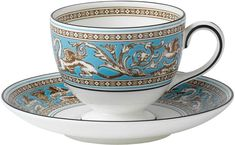 Wedgwood Florentine Turquoise Leigh Teacup And Saucer Set Traditional Teacups, Duck Egg Blue, China Patterns, Wedgwood, Fine China, Tea Set, Cup And Saucer, Tea Party, Tea Cups
