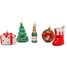 Bombki Little NAP Christmas set of five glass baubles (5,875 INR) ❤ liked on Polyvore featuring home, home decor, holiday decorations, red, fruit bottle, red home decor, glitter bottles, bombki and red glass bottles