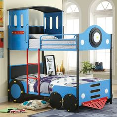 Twin Bunk Bed Retro Ecpress II CM-BK1042DESCRIPTION:Having a train as a bed is pretty awesome, but having a double-decker train bunk bed is so much better! This bunk bed is made of durable metal with top guard rails for safety in mind.  Bunk Bed Sale For $628