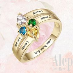 Personalized Gifts For Her, Personalized Rings, Rose Gold Promise Ring, Promise Rings, Mother Rings, Rings Cool, Engraved Rings, Birthstone Jewelry, Gifts For Mom
