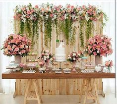 Bridal Shower Table Set Up Backdrops 45 Best Ideas Wedding Cake Table Decorations, Wedding Table, Rustic Wedding, Wedding Ideas, Wedding Cakes, Dessert Table Backdrop, Pallet Wedding, Garden Wedding, Wedding Lunch