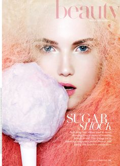 Sugar Shock – Take a look at the beauty opener of Fashion Canada's April issue, lensed by Natasha V. The image stars new face Emily Ruhl and focuses on spring's trend of cotton candy colored hair. Emily's pastel locks and pink lips are courtesy of beauty artist Veronica Chu.