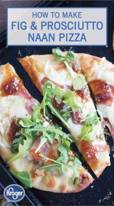 Naan bread is topped with creamy fontina cheese, salty prosciutto and sweet fig jam to make this easy Naan Pizza. Get the easy pizza recipe here! Prosciutto Pizza, Arugula Pizza, Prosciutto Recipes, Bread Appetizers, Appetizer Recipes, Fancy Appetizers, Dinner Recipes, Italian Appetizers, Party Recipes