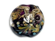 Amethyst Treasure Lentil Focal Bead -11818502 Handmade Glass Lampwork Bead