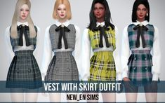 Sims 4 Vest with Skirt_Outfit Korean Fashion Ulzzang, Korean Outfits, Ulzzang Korea, Sims 4 Cas, Sims Cc, Sims 4 Anime, Korean Skirt, Sims4 Clothes, Sims 4 Dresses