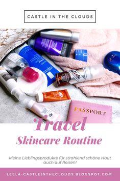 Meine Lieblingsprodukte für strahlend schöne Haut auch auf Reisen! #travelessentials #travelbeauty Beauty Review, Travel Essentials, German, Make Up, Castle, Hacks, Clouds, Content, Skin Care