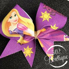 Disney Cheer Bows, Cute Cheer Bows, Cheer Stuff, Hairbows, Baby Headbands, Rapunzel, Gymnastics, Claire, Pony