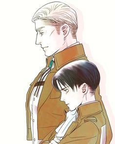 """blue-sonnet: """" Gorgeous Eruri by ★苺野めり★ (posted with very kind permission. Please do not remove source or repost) Always together. Levi And Erwin, Fandom Jokes, Attack On Titan Ships, Fanart, Eruri, Levi Ackerman, Chibi, Cool Art, Maine"""