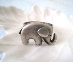 Antique Silver Elephant Ring from lunashineshine via Etsy.