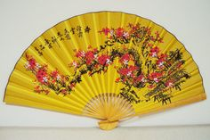 """JP: Vintage Large 62"""" Chinese Asian Wall Decor Fan Spring Cherry Blossom and Poem Hand Painted"""