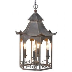 Dist Blk Metal Chandelier