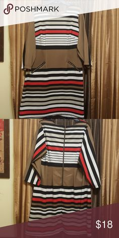 Dress Polyester dress, gold zippers in front and back, red, white, black, and brown stripes Robbie Bee Dresses Midi