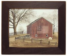 Flag Barn by Billy Jacobs Americana Red Barn Patriotic Country Primitive Folk Art Print Wall Décor Framed Picture Primitive Homes, Primitive Folk Art, Country Primitive, Primitive Decor, Primitive Bathrooms, Primitive Christmas, Christmas Decor, Frame Wall Decor, Framed Wall Art