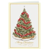 Say Merry Christmas this year with this beautiful card. A big green Christmas tree is elegantly decorated with garland, ribbons, and Christmas flowers topped with a shining star! Printed with red, silver, and gold foil make this card really stand out with the perfect amount of shine.