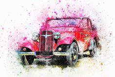 Car, Old Car, Art, Abstract, Watercolor, Vintage