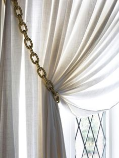 How to Make Gold Chain Curtain Tiebacks Inspiration Of Diy Curtain Tie Backs Curtain Tie Backs Diy, Curtain Ties, Diy Curtains, Curtain Holder, Sheer Curtains, Curtain Tiebacks Ideas, Fancy Curtains, Bedroom Curtains, Valance