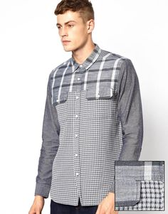ASOS Check Shirt In Long Sleeve With Cut And Sew Detail