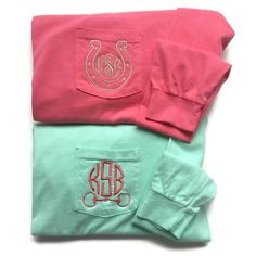 Long Sleeve Equestrian Monogram Pocket Tees by The Initialed Life