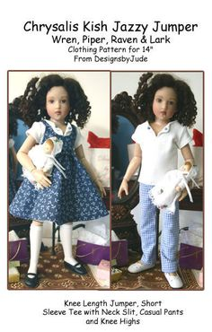 """Jazzy Jumper Doll Clothes Sewing Pattern 14"""" Kish Wren, Raven, Piper & Lark #DesignsbyJude"""