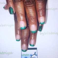 Fall Glitzy French Tip Nail Creation byWatoiya #nails #naturalnails #soakoffgelpolish #frenchmanicure #glitternails #bbtsalon #bywatoiya