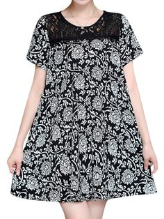 Women sexy lace print short sleeved dresses round neck mini dress sexydresses.com coupon code