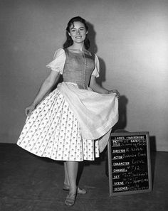 "Actress Charmian Carr, who played Liesl Von Trapp, in a costume test, for the movie musical ""The Sound of Music"" (1965). ~ Photo by 20th Century Fox/ Courtesy Everett Collection."
