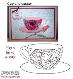 Tea Cup and Saucer Iris Fold Card - Irisvouwen