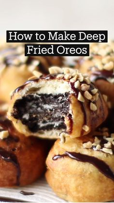 Deep Fried Oreos, Dipped Oreos, Mini Foods, Fries, Melted Butter, Food Videos, Chocolate, Peanut Butter, Sandwiches