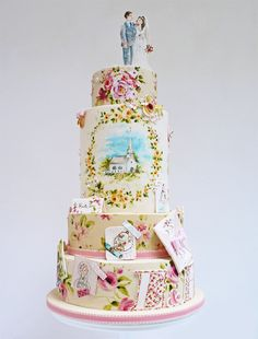 A wedding cake for the bride who loves Pinterest! It's covered in illustrations of wedding ideas.