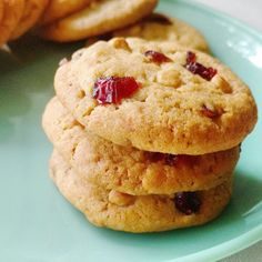Thick and chewy drop cookies with tart cranberries and sweet smooth white chocolate!